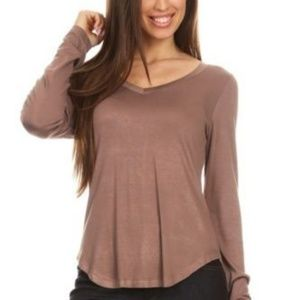 Tops - Mocha Brown Rayon Blend Solid V Neck Tee Top
